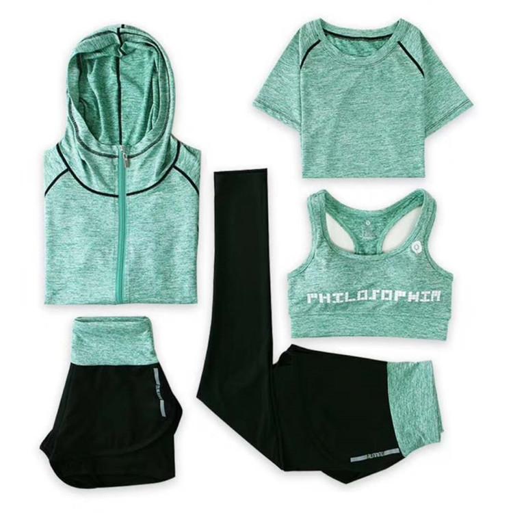 专业瑜伽服健身房跑步速干衣运动套装女五件套