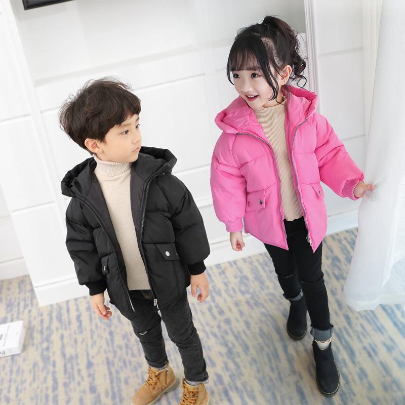 聚成儿童羽绒服 新款韩版连帽加厚男女童羽绒服中长款