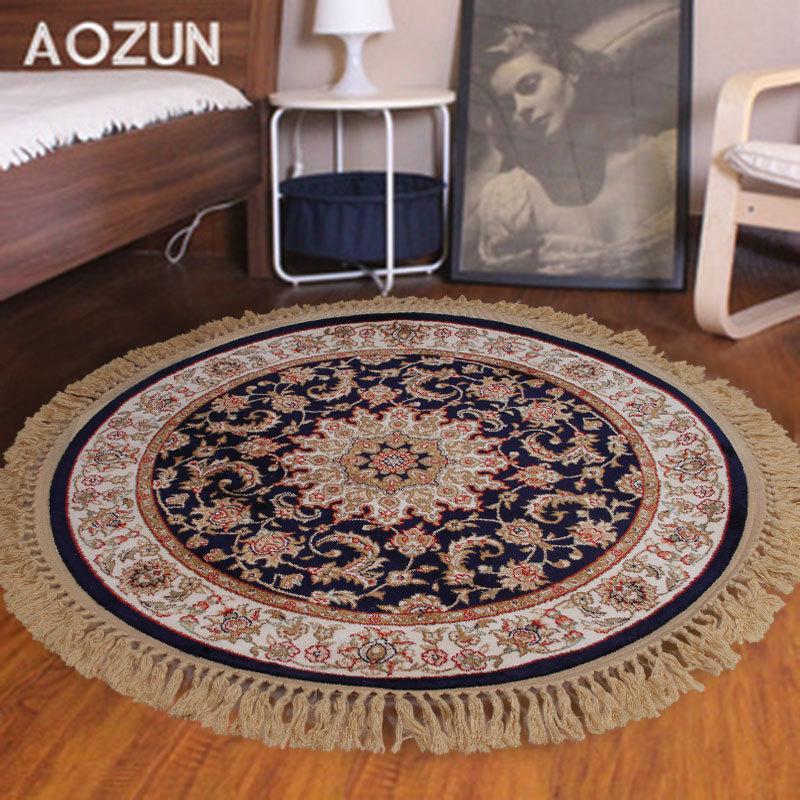 新疆纯羊毛手工圆地毯客厅欧式地垫简约现代卧室床边圆形地毯脚垫