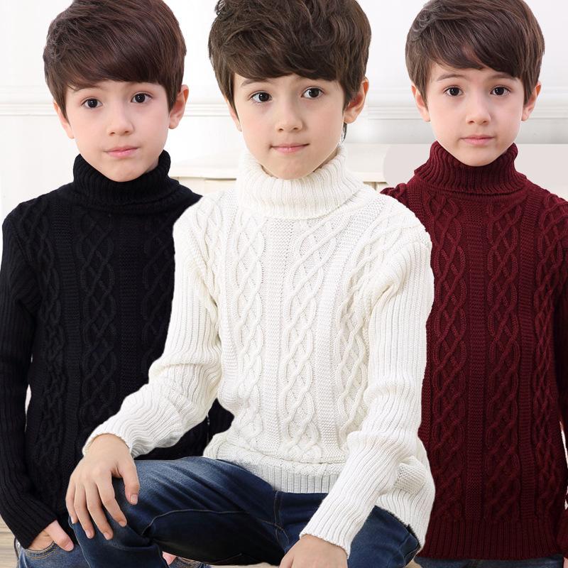 新款童装爆款不起球百搭高领男童毛衣针织衫
