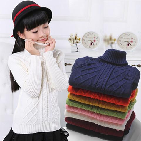 儿童毛衣新款秋冬高领毛衣纯色百搭套头加厚