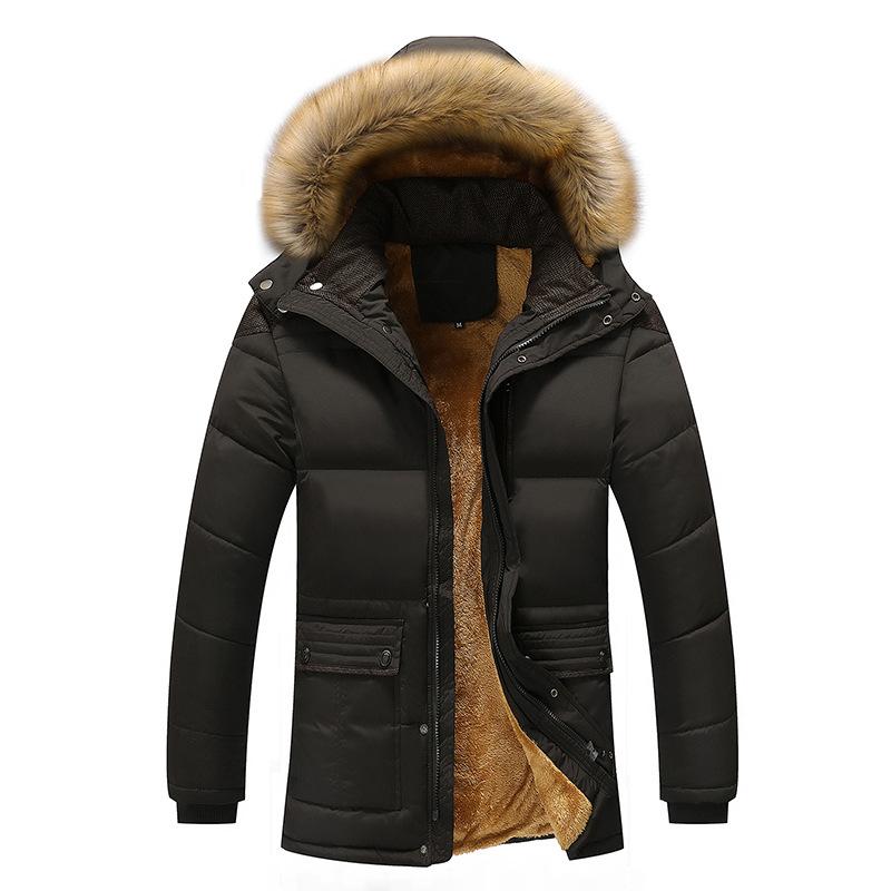 中年男士棉衣冬季中老年男装加绒加厚棉服爸爸装棉袄外套