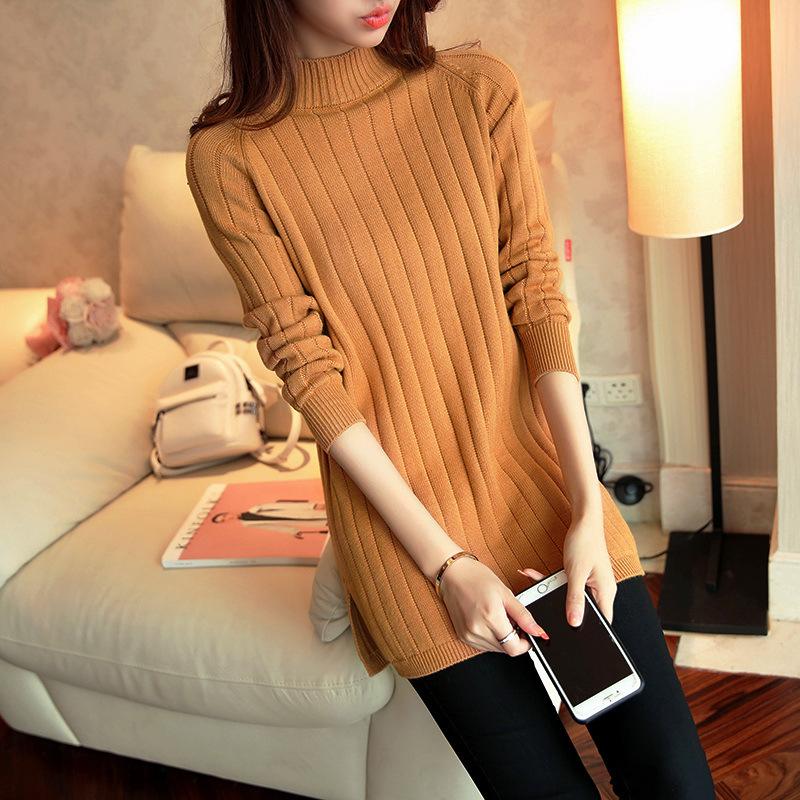 秋冬季中长款宽松纯色半高领毛衣针织衫