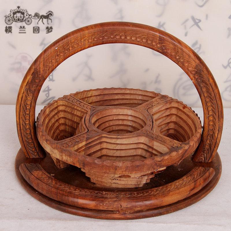 木雕工艺品5坑提篮欧式创意水果篓现代客厅糖果盘干果盘