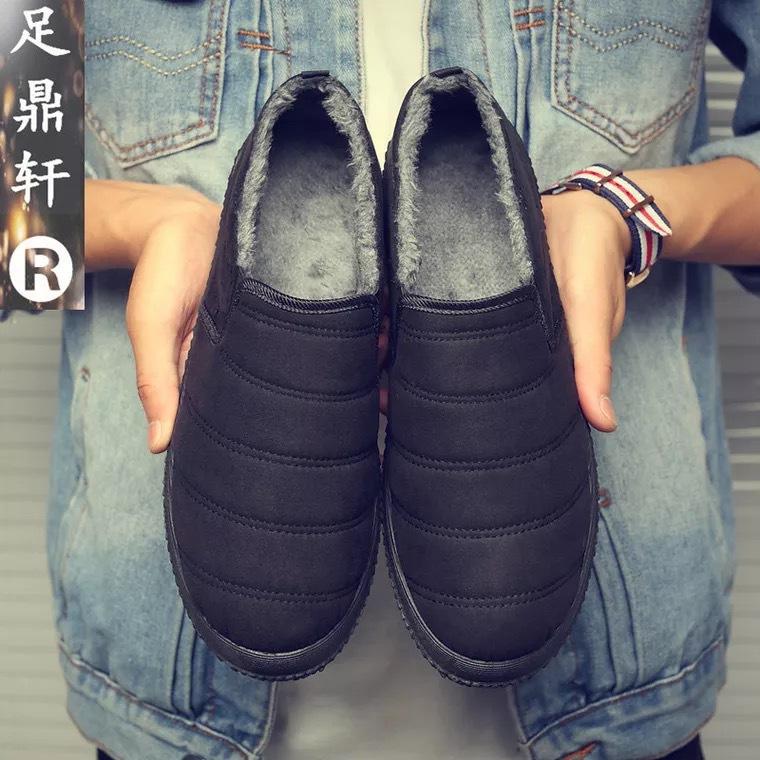 冬季新款一脚蹬绒面男棉鞋加绒防滑老北京棉鞋轻便保暖休闲男棉鞋