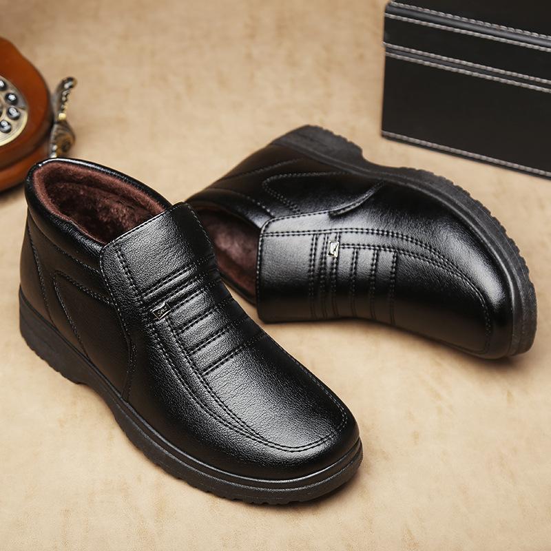 冬季新款男鞋休闲鞋 加厚男士皮鞋棉鞋