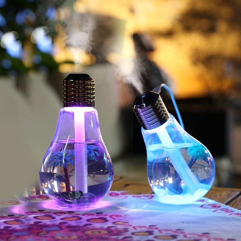 创意USB家用办公室静音LED二代七彩灯泡加湿器夜灯加湿器
